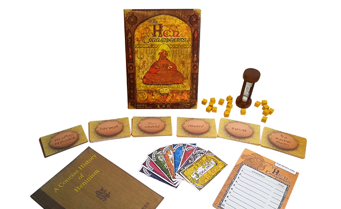 The Hen Commandments - game contents (prototype; actual components may vary
